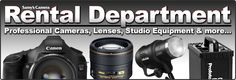 Samy's Camera Rental Department. Samy's rents a huge assortment of equipment, from cameras and lenses to studio grip gear. Our clients include students, professional photographers, movie studios, and more. We offer lighting equipment, digital cameras and scanners, video gear, and cameras from 35mm up to 4x5 and 8x10, plus panoramic format cameras. You can pick up your rental gear at one of our locations throughout Southern California or we'll be happy to ship it to your location.