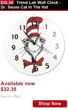 Other Nursery Wall Decor: Trend Lab Wall Clock - Dr. Seuss Cat In The Hat BUY IT NOW ONLY: $32.35