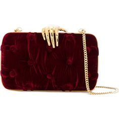Benedetta Bruzziches hand-lock clutch ($1,081) ❤ liked on Polyvore featuring bags, handbags, clutches, benedetta bruzziches, red, velvet handbag, burgundy handbags, locking purse, velvet clutches and red handbags