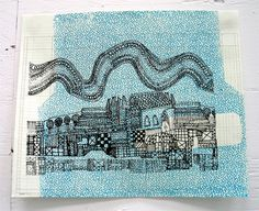 Geometric City Illustration & Security Envelope Screen Print on vintage office column paper by laurawennstrom