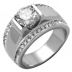 Nathan: Mens 2.66ct Russian IOF CZ Solitaire Design Semi-Eternity Ring