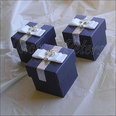 Boys Navy Blue White Bow Cross Favor Box, Baptism, Communion, Candy Holder