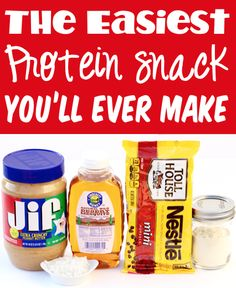 Healthy Snacks Ideas! Protein Bites on the Go! All you'll need is just 10 minutes and 4 ingredients to create this fast and easy protein packed snack option! Go grab the recipe and give them a try this week! Snacks Ideas, Easy Snacks, Yummy Snacks, Delicious Desserts, Healthy Snacks, Snack Recipes, Healthy Recipes, Protein Packed Snacks, Protein Bites