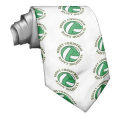 Volleyball Sports Happy Holiday Merry Christmas 2 Neckties This Merry Christmas Happy Holidays holiday design features a volleyball. Great gift for a player, fan, personal trainer or coach. #surfing #volleyball #gift #sports #christmas