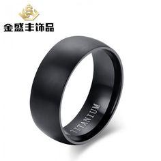 pure titanium gold jewelry european and american high-end men's rings classic black titanium ring ring wholesale tr-001