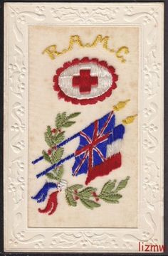 WW1 EMBROIDERED SILK 'RAMC' RED CROSS BADGE UNION JACK FRENCH FLAGS PRINTED CARD