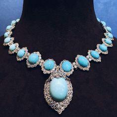 Amazing turquoise and Diamonds necklace by @davidwebbjewels