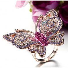 Colorful Butterfly Ring For Women Rose Gold Filled Alloy With CZ Inlaid - USD $58.95