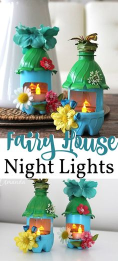 Turn recycled plastic water bottles into adorable little fairy house night lights! This is a fun craft that kids can participate in, and they will love their new mini fairy house! #fairyhousenightlight #fairyhousediy #fairyhouseprojets #fairyhousediyforkids #fairyhouseideas #recycledplasticbottles #plasticbottleart #plasticbottlecrafts #diynightnight #craftsbyamanda
