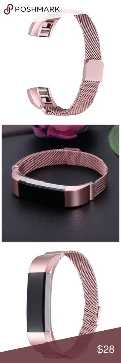 PINK GOLD FITBIT ALTA BAND IN MESH MILANESE LOOP This very sturdy Milanese mesh adjustable band has very strong magnets to hold it secure. Turn your FITBIT fitness tracker into a fashion statement piece bracelet. AVAILABLE in SILVER, GOLD, BLACK, ROSEGOLD & PINK. Very easy to attach to your FITBIT!  See other listings for color choices.  It fits the ALTA and HR (Heart rate) models. See listings for fun prints & colors of ALL FITBIT BANDS for various models in silicone, too! I'm always adding…