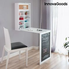 Introducing the new InnovaGoods Home Organize wall mounted folding desk that will go perfectly in your home! A wall mounted desk with an original and very decorative design that is ideal for working fr Folding Desk, Folding Walls, Wall Mounted Desk Folding, Home Organization Wall, Fold Down Table, Design Salon, Wall Desk, Wood Vinyl, Wall Wood