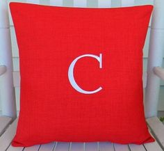 Good Monogrammed Initial Outdoor Pillow Cover In Hibiscus Red Orange |  Personalized | Alphabet | Embroidered | Initial | Wedding