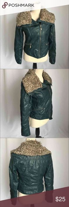 Xhilaration blue faux leather moto jacket fur M Zipper works properly super cute color green with blue. The fur gives it a nice touch:) Xhilaration Jackets & Coats Utility Jackets