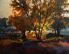 """Saatchi Art Artist Anastasia Yaroshevich; Painting, """"Autumn sunset"""" #art"""