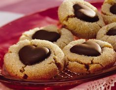 Chocolate Heart Peanut Butter Cookies