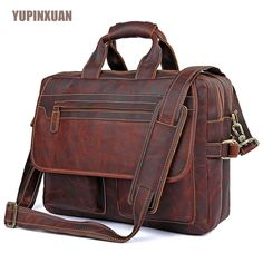 "YUPINXUAN High Quality Cow Leather Handbags for Men 15.6"" Laptop Briefcase Brown Color Large Capacity Travel Bags Messenger Bag"