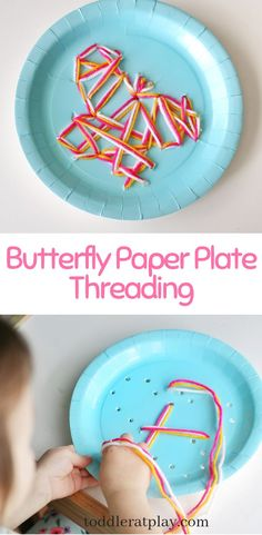 This Butterfly Paper Plate Threading craft is super easy to set-up, totally adorable and most importantly, improves those good old fine motor skills! #butterflycraft #paperplatecrafts #springcrafts #finemotorskills