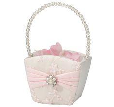 White Wedding girl flower petal basket decoration black sach bow diamnte stud