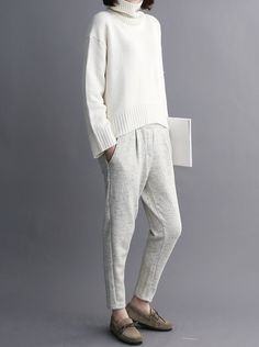 Casual Chic - white jumper, tapered pants & moccasins