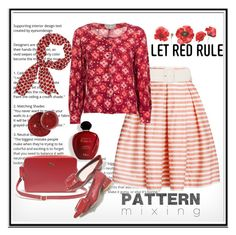 """""""Red Rules ..."""" by lutgard-m ❤ liked on Polyvore featuring Satine, Rumour London, Chanel, Emanuel Ungaro and Lacoste"""
