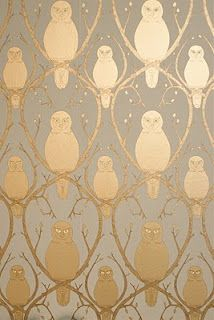 gold & grey owl wallpaper - so sophisticated, i love it. Grey Owl Wallpaper, Fabric Wallpaper, Bathroom Wallpaper, Striped Furniture, Tricia Guild, Carpet Manufacturers, Gray Owl, Passementerie, Designers Guild