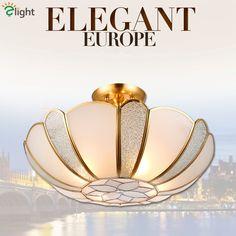 181.93$  Watch here - http://ali6jj.worldwells.pw/go.php?t=32689211388 - Europe Novelty Foyer Led Pendant Light Luxury Copper Glass Diningroom Led Hanging Light Flower Model Bedroom E27 Pendant Lamp