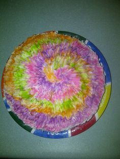 Our Girl version of the tye dyed cake.
