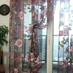 Home Textile Flower Embroidered Luxury Voile Curtains Fabric Tulle Sheer Curtains For Kitchen Bedroom Living Room Curtain For Door Window, Window Scarf, Window Drapes, Door Curtains, Hanging Curtains, Kitchen Curtains, Valance, Balcony Window, Bedroom Balcony