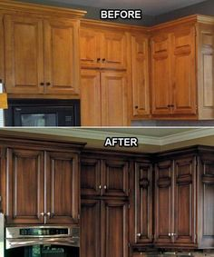 Before and After: Faux Finish on the Kitchen Cabinets. The brown cabinets made the before kitchen feel like it came straight out of the 1970's. However, a lot of the difference is due to different paint colors and crown molding! And the crown molding, new hardware and stainless give this kitchen a sleek sophisticated look.