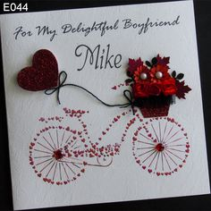 Handmade Greeting card for her or for him to bike with heart motif. Created with love for love. Express your feelings as best you can. This card is perfect for that suitable. Prove his love for you to say how much.  http://www.handmadecards24.co.uk/product/handmade_greeting_card_bike_love
