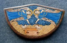 Arc of the Covenant Retablo Colonial Art, Spanish Colonial, Arc Of The Covenant, Porsche Logo, Crafts, Saints, Manualidades, Handmade Crafts, Spanish Revival