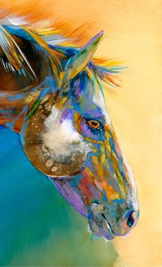 """Carol Hagan painted this horse with the colors she saw fit. What do you see fit in your book's main character? It's your world, you decide."" --Robert S. Nahas www.WriterServices.net"