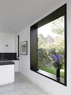 exposureyorkshire loves this kitchen picture window! add a seat or some cushions and it suddenly has a function. It makes a great reading window with views to the great outdoors. Big Windows, Steel Windows, Black Windows, House Extensions, Kitchen Extensions, Kitchen Pictures, Kitchen Ideas, Black Walls, Window Design