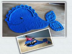 Whale rug, pattern by Ira Rott Animal Rug, Diy Rugs, Whale, Crochet Patterns, Crochet Hats, Nursery, How To Make, Crafts, Animals