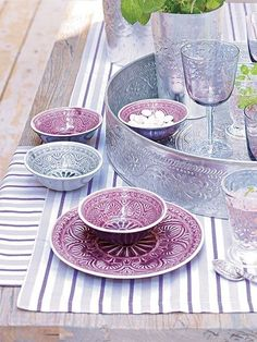 Marrakech in the kitchen. Blue and purple dishes-  I just want the purple ones though...
