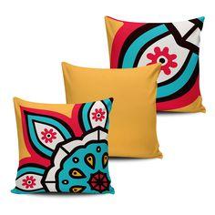 KIT com 3 Almofadas Decorativas Mandala 45x45cm- ALMAND002 - Pano e Arte