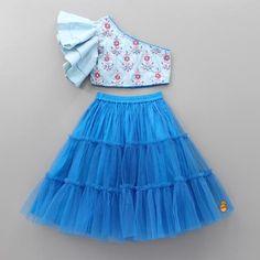 Pre Order: Light Blue One Shoulder Embroidered Top And Blue Ghagra Girls Frock Design, Kids Frocks Design, Baby Frocks Designs, Baby Dress Design, Kids Lehanga Design, African Dresses For Kids, Dresses Kids Girl, Girl Outfits, Kids Dress Wear