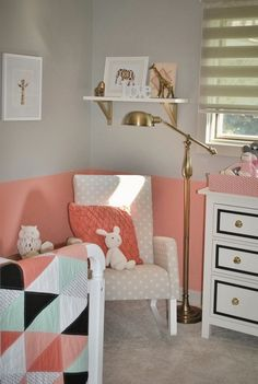 salmon, mint, black, and white with Ikea hemnes dresser hack In peanuts room marine blue, red, teal/ light blue, gold.. Girl add hot pink, boy leave