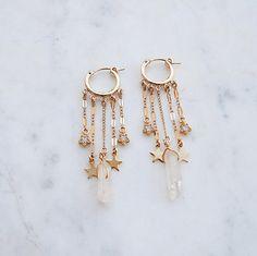 All The Dangles Hoop Earrings star earrings shooting star earrings crystal earrings hoops gold hoops gypset gypset jewelry Ear Jewelry, Cute Jewelry, Crystal Jewelry, Crystal Earrings, Bridal Jewelry, Jewelry Accessories, Jewlery, Jewelry Ideas, Gold Jewellery
