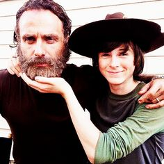 Father and son, Andrew Lincoln & Chandler Riggs...I love this picture.