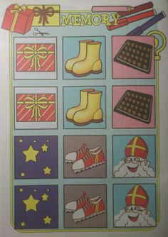 Sint Nicolaas en zijn Maatjes; Knutsel werkblad: Maak een gekleurd Sinterklaas Memory Spel!