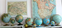 Love these vintage globes and maps