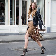 Lisa Fiege - Just Fab X Gwen Stefani Shoes, Fringe Skirt, Leather Jacket, T Shirt - Just wear Fringe
