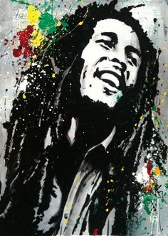 bob marley drawings | BOB MARLEY II - Nathalie Manzano. Very clear black and white painting, stands out very well, contrasts well.
