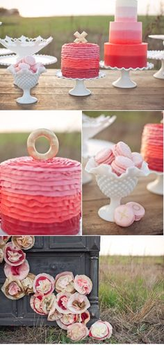 rainbow cakes with ruffles or tiers