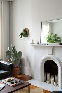 white fireplace with plants and a mirror