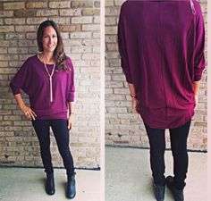 This $32 top is fabulous! Feels so soft, its the perfect length and its not too flowy. You will love this top! Small-med-large available