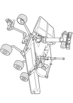 Outer Space Coloring Lunar Lander New Rover Space Exploration Curiosity Mars, Curiosity Rover, Coloring Sheets, Coloring Pages, Mars Project, Robot Sketch, Indian Space Research Organisation, Balloon Cars, Lunar Lander