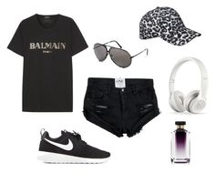 Busy by amandalen on Polyvore featuring polyvore, fashion, style, Balmain, NIKE, Scotch & Soda, STELLA McCARTNEY, Beats by Dr. Dre and Porsche Design