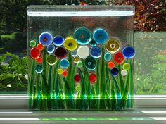 Fused glass suncatcher/wallhanging with colorful flowers